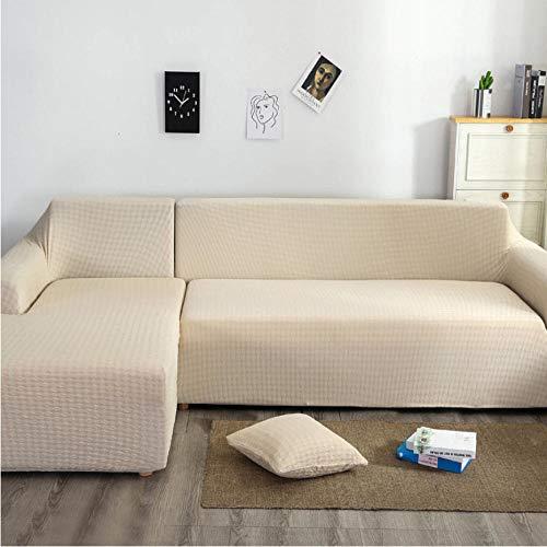 ARTEZXX Funda elástica para sofá de 1/2/3/4 plazas Blanco Cubierta Antideslizante en Tejido elástico Extensible Protector de sofá Cobertura Total Universal Engrosada 2 plazas: 145-185 cm