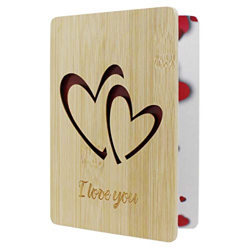 CVHOMEDECO. I Love You Card Greeting Cards Handmade with Natural Bamboo Wood, Idea Gifts for Wife, Him, Her or Just Because, Valentines Day Anniversary Birthdays Mother's Day Gift Card