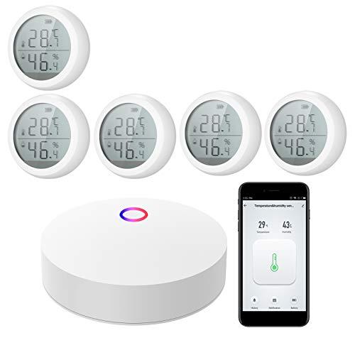 Kecheer Termometro Igrometro WIFI intelligente,Misuratore di Temperatura e umidità ambiente interno esterno compatibile con Alexa,Termoigrometro digitale casa