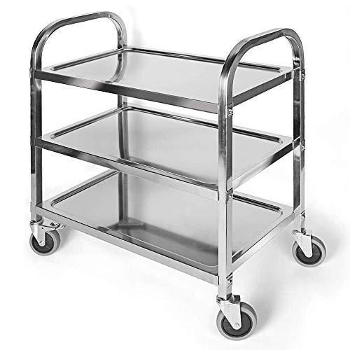 Stainless Steel Utility Cart with Wheels&Handle 3-Tier Kitchen Trolley Serving Cart Steel Food Storage Shelf for Restaurant Hotels Home (2 Wheels W/Brake Lock,2 Without Brake) - 30x16x33 inch