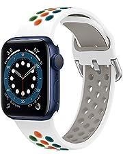 YPSNH Compatibel voor Apple Watch Band 38mm 40mm 42mm 44mm Zachte Siliconen Ademende iWatch Armband Tweekleurige Vervangende Sporthorlogeband voor iWatch Series 6/5/4/3/2/1, Voor Dames Heren