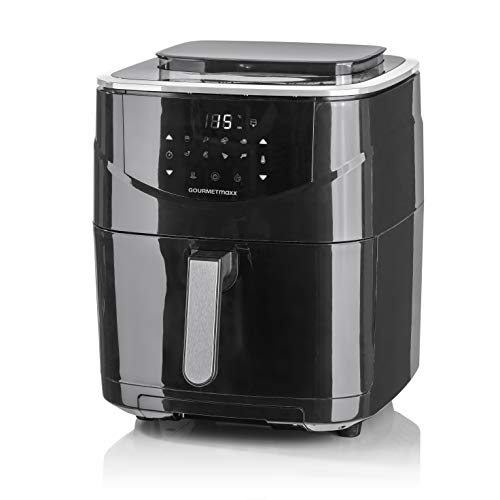 GOURMETmaxx Dampfgar-Heißluft-Fritteuse Digital 6 Liter | Mit 60-Minuten-Timerfunktion und automatischer Abschaltung | Mit Touch-Display und 8 Programmen [schwarz]