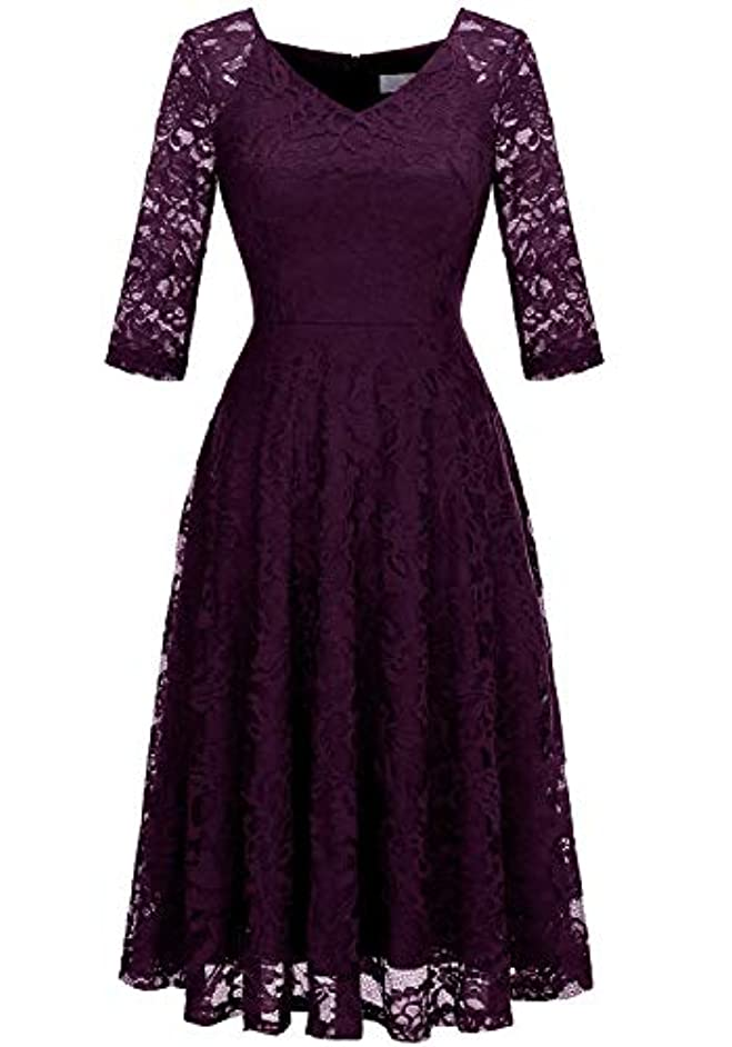Dressystar Long-Sleeve A-Line Lace Bridesmaid Dress Midi for Wedding Formal Party