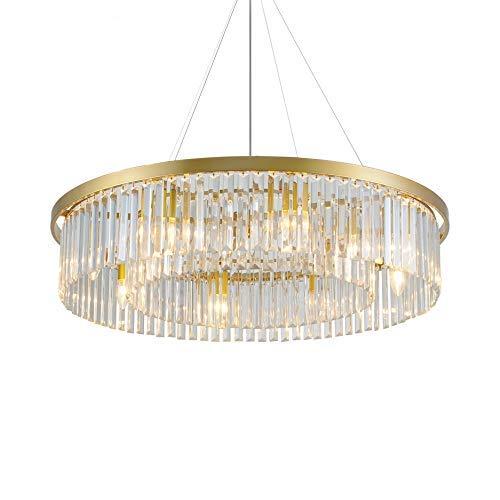 Kronleuchter Beleuchtung Unterputz Trommel Pendelleuchte Deckenleuchte Einstellbare klare Kristall Hängelampen für Wohnzimmer