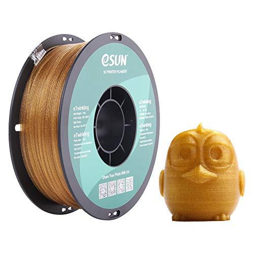 eSUN Funkelnd PLA Filament 1.75mm, Glitter Funkelnd PLA 3D Drucker Filament, Maßgenauigkeit +/- 0.05mm, 1KG (2.2 LBS) Spule für 3D Drucker in Vakuumverpackung,Gold