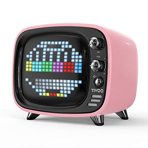 ZTKBG draagbare bluetooth-luidspreker, intelligente wekker pixel-kunst, doe-het-zelf, led-licht aanmelden decoratie, roze