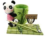 Cute Black and White Panda Theme Stationery Set Include 12 HB Bamboo Pencils 1 pencil holder 1 Memo holder Organizer 1 Ceramic Panda Toy 1 Keychain For Kids School Study Gift