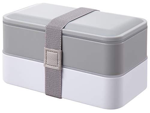 PuTwo Bento Box, Lunch Box, Porta Pranzo Ermetico Lunch, con Set di Posate, Grigio, 1200 ml