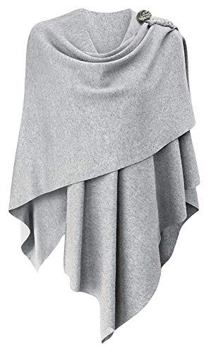 Femmes Poncho Châle Wrap Finement drapé tricoté Cape Cardigan écharpe croisée Devant pour Temps Froid endroits climatisés,Taille unique,Gris-Y-gris