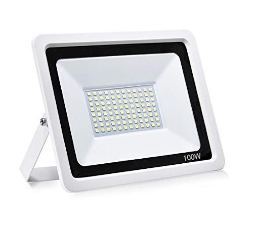 100 W LED strålkastare utomhus säkerhetslampor vattentät IP66 dagsljus vit 6500 K 10 000 LM utomhus strålkastare vägglampa trädgårdslampa för gård garage lagerparkeringsplats lekplats [Energiklass A+]