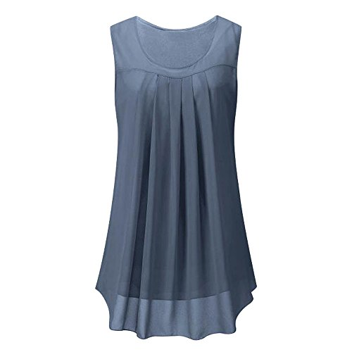 MRULIC Geschenk Zum Muttertag Frauen Sleeveless Chiffon Solide Weste Bluse Tank Tops Camis Kleidung (Grau,EU-40/CN-M)