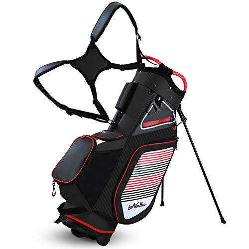 Golf Stand Bag 14 Way Divider, 6LB Lightweight Portable Walking/Riding Bags with Rain Hood & Straps