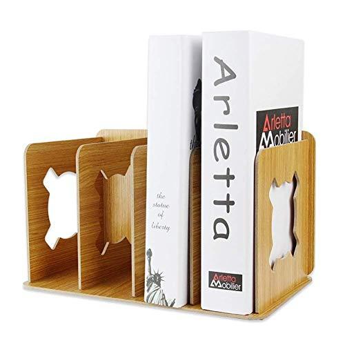 AWJ Organisateur de fichier de Bureau Robuste Bureau 4 Compartiments Magazine Support de Support de fichier Bureau en Bois Document Cabinet Rack Affichage Boîte de Rangement