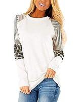Women Leopard Print Tops Long Sleeve Shirts Cute Sweatshirt Color Block White XL