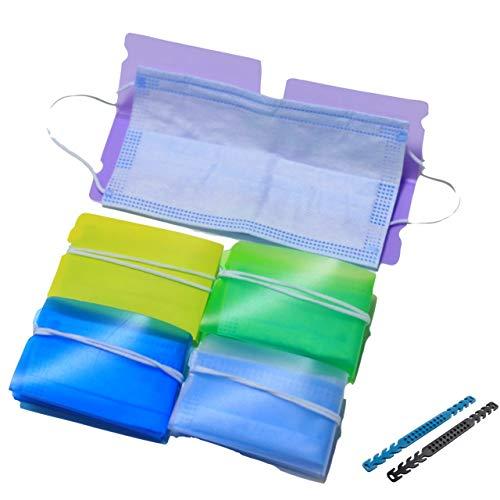 Anfipo Pack 6 Estuche Plegable para Guardar mascarilla desechable - Incluye 2 salvaorejas Gratis - Caja portátil para el Almacenamiento de mascarillas Portamascarillas para prevenir la contaminación
