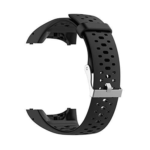 Facibom Pulsera de Silicona para Correa de Mu?Eca para Polar M400 M430 GPS Sports Smartwatch Reemplazo de Pulsera Correa de Reloj Correas con Herramienta Negro