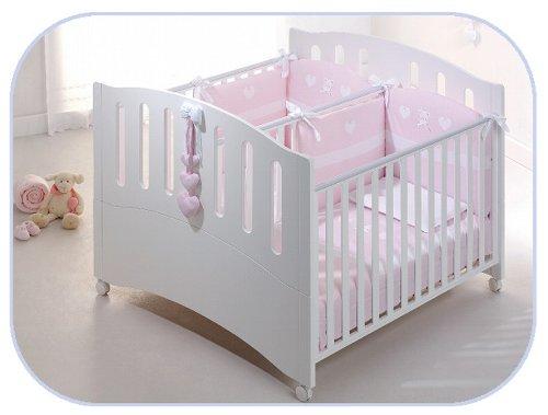 Cama doble Gemini para gemelos, madera de haya blanca, diseño azzurra, cama de bebé de madera de haya maciza