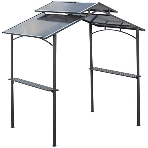 Outsunny Gazebo da Giardino per Barbecue, Doppio Tetto Anti-UV e Struttura in Acciaio con Mensole, 240x150x250cm, Nero