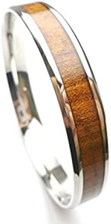 Stainless Steel, (6mm,8mm,10mm,12mm) Natural Koa Wood Bangle