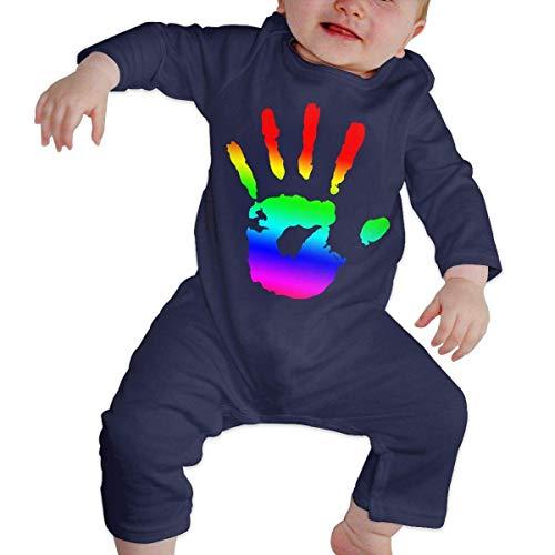 Newborn Baby Boys Girls Bodysuits Gay Handprint Cotton Long Sleeve One-Piece Coverall