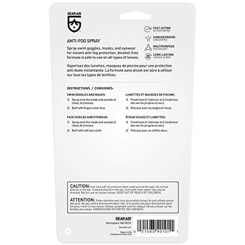 41fggh2EklL - GEAR AID Anti-Fog Spray and Cleaner for Goggles, Masks and Glasses, 0.5 fl oz, Clear