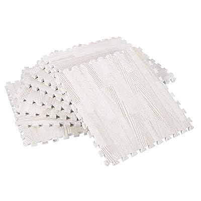Zerone Exercise Floor Mats,30x30cm Imitation Wood Soft Foam Exercise Floor Mats Gym Garage Home Kids Play Mats Pad Pack of 9