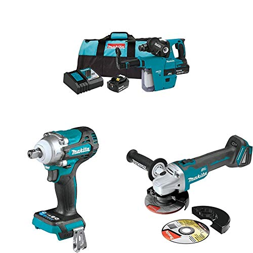 Makita XRH011TX 18-Volt LXT Brushless Cordless 1 in. Rotary Hammer Kit, accepts SDS-PLUS bits, w/HEPA Dust Extractor, 5.0Ah with XWT15Z Impact Wrench w/Detent Anvil and XAG04Z Angle Grinder
