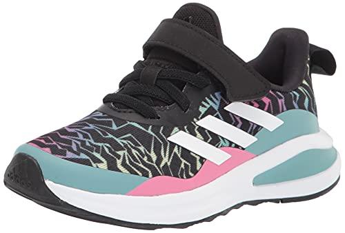 adidas Fortarun Elastic Running Shoe, Black/White/Mint Ton, 1 US Unisex Little Kid