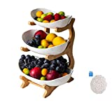 Haucy Obst Etagere, 3 Stöckig Obstkorb, aus Keramik, Abnehmbarer Obstkorb- für Küchendeko, Obst, Snacks- Kernvitamine im täglichen Leben (3 Stöckig Weiß)
