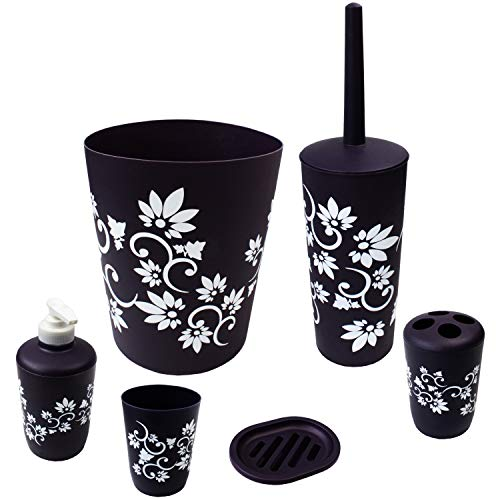 Blue Donuts Bathroom Accessories Set Complete, Toilet Brush and Holder, Trash Can, Toothbrush Holder, Purple, 6 Pieces
