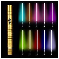 フォースFXライトセーバー11色RGBライトセーバー、ジェダイシスヘビーデュエルLEDライトセーバー、メタルアルミニウムヒルト、USB充電フォースライトセーバーグローイングサウンド,金,39.37in