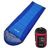 Semoo Saco de Dormir Rectangular para Adultos en Azul - Sleeping Bag para 3 Estaciones - Tamaño Compacto, Acabado Hidrófugo - 210x75cm - para Acampadas, Festivales y Trekking…