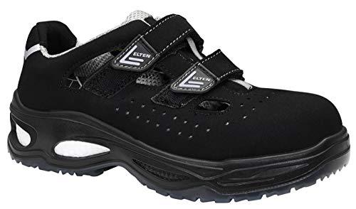 ELTEN Zapatillas de Seguridad Ethan Easy ESD S1, para Hombre, Deportivas, Ligeras, Negras, Puntera de plástico, Cierre de Velcro, Talla 43