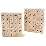 Wood Rubber Stamps for Crafting, Calligraphy Alphabet Stamp Set (60 Pieces)