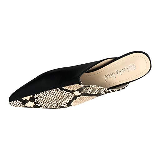 SMENGG Pantofole delle Scarpe Piatte Sandali con Plateau e Sandali con Punta a Punta in Pelle di Serpente Femminile(37)