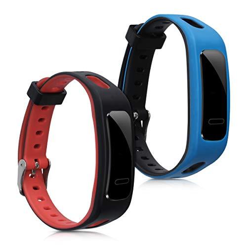kwmobile 2X Pulsera Compatible con Huawei Honor Band 3e - Brazalete de Silicona Negro/Rojo/Azul sin Fitness Tracker