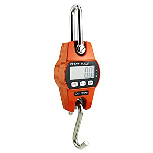 Outmate Mini Digital Crane Scale 300kg/600lbs with LED (Plastic Shell,Orange)