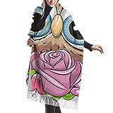 Damen Wickeldecke Schal, Klassischer Kaschmir fühlen Unisex Winter Schal, Cartoon Eule mit Flowerson Ein weißer Hintergrund Vektor lange große warme Schals Wrap Schal gestohlen
