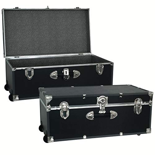 Seward Trunk 30-inch Footlocker Trunk with Wheels Black