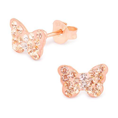 Monkimau Orecchini bambina Orecchini a farfalla realizzati in vero argento 925 con 32 cristalli placcati oro rosa