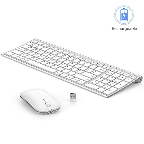 Seenda Ultra Thin Low Profile Rechargeable Wireless Keyboard and Mouse Combo with Number Pad(Aluminum Base, Long Battery Life)-Silver and White
