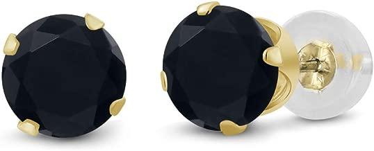 Gem Stone King 14K Yellow Gold Black Onyx Stud Earrings 0.92 cttw Gemstone Birthstone Round 5MM