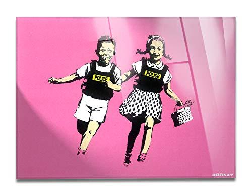 Giallobus - Schilderij - Klaar om op te hangen - Afdrukken op Acrylglas Plexiglas - Banksy - Jack en Jill, politiekinderen, roze - Moderne schilderijen voor thuisgebruik - Diverse maten XXL - 100x70 cm