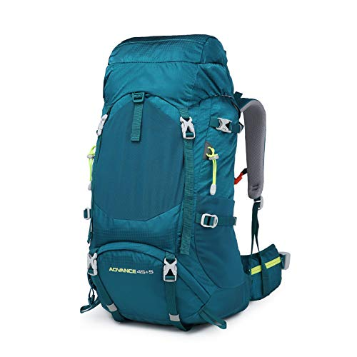 LILINA Backpack 50L hiking (45 + 5) Nylon Large capacity Emergency Bag with Backpack Ultralight Waterproof Protective Case for Trekking Mountaineering Climbing Sport Travel Camping,Green