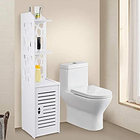 Lyrlody Corner Cupboard With Hollow Out Tall Cupboard Bathroom Cabinet Bathroom Cabinet Shelving Unit For Kitchen And Bathroom 2 Open Compartments And 1 Door 29 X 29 X 120 Cm Amazon De Küche Haushalt