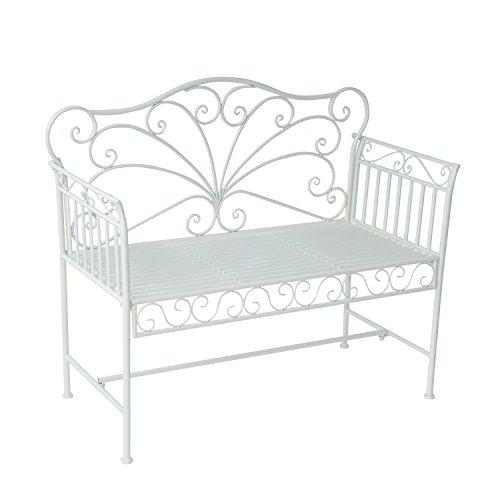 Outsunny Panchina Biposto da Giardino Stile Romantico Ferro 113.5 x 50 x 93.5cm Bianco