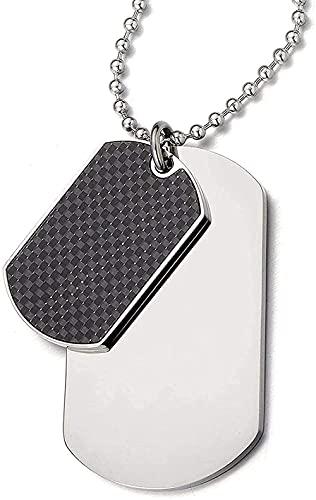 banbeitaotao Collar con Colgante de Acero de Dos Piezas para Hombre con Fibra de Carbono y Cadena de Bolas de Acero de 23 6 Pulgadas