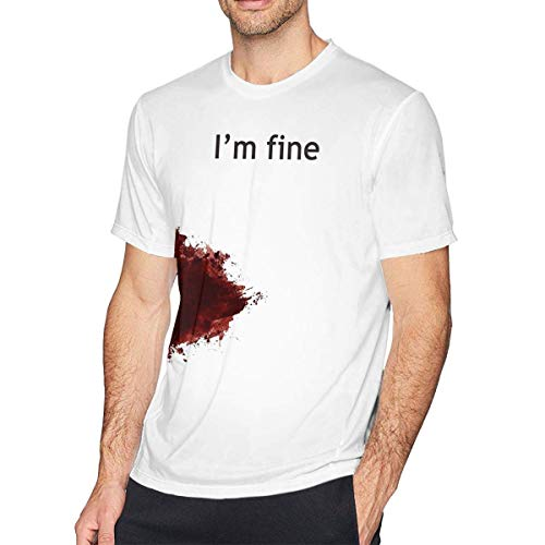 Qin Tong Camiseta de Manga Corta para Hombre,I'm Fine Graphic Zombie Slash Movie Men's Cool tee White Funny Baseball Summer Top