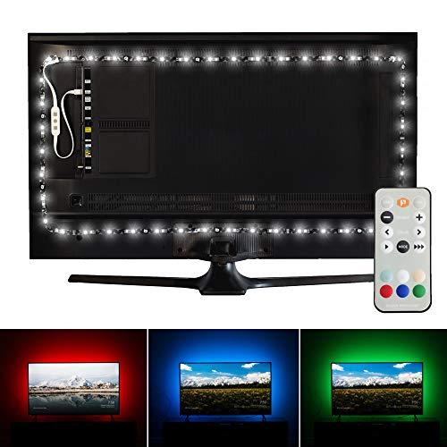 Luminoodle Premium USB LED Hintergrund-Beleuchtung (5m), 6500K tageslicht weiß und 15 Farben (mit Fernbedienung), LED-Bias Beleuchtung für HDTV-, TV-Bildschirm und PC-Monitor, LED-Strip selbstklebend