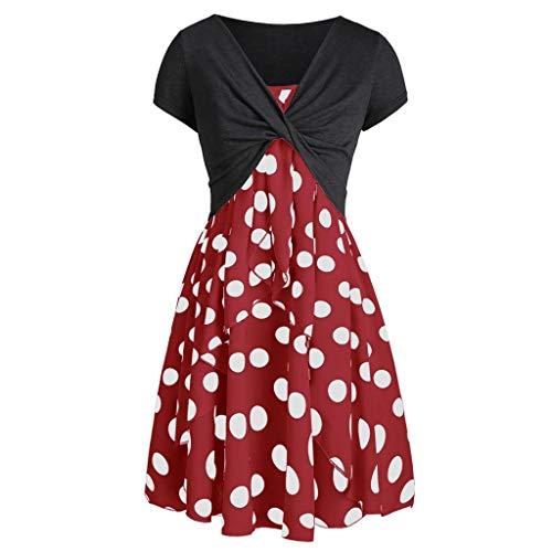 MRULIC 2 Stücke Kurzes Tops und Ärmellos Kleider Damen Spaghetti-Armband Kleider Sommerkleid Elegant Rückenfreies Kurze Punktdruck Mini Kleider(Rot,EU-42/CN-2XL)